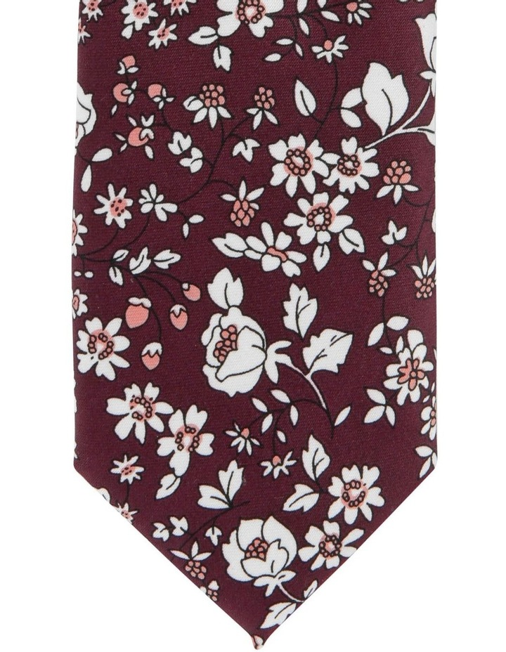 Blaq Small Floral Tie Burgundy image 2
