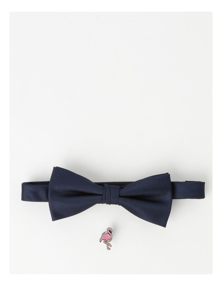 Plain Navy Bow Tie And Pin image 1