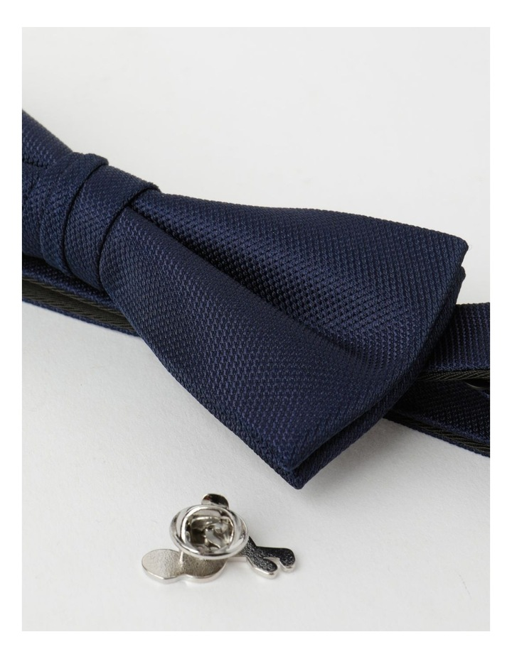 Plain Navy Bow Tie And Pin image 2