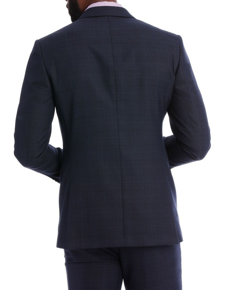 Navy Check Wool Blend Suit Jacket image 6