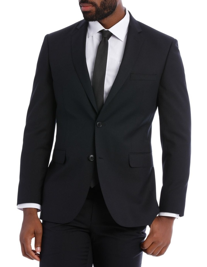 Black Pindot Wool Blend Suit Jacket image 2