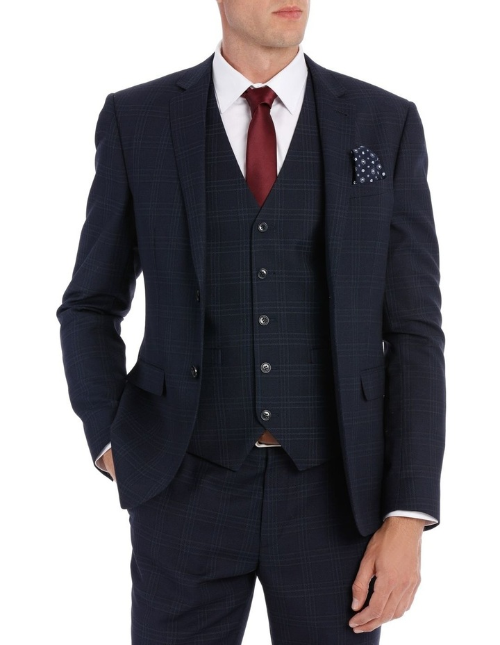 Navy Textured Check Suit Jacket image 1