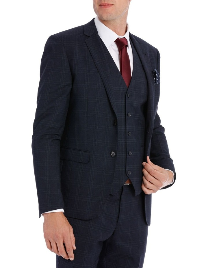Navy Textured Check Suit Jacket image 2