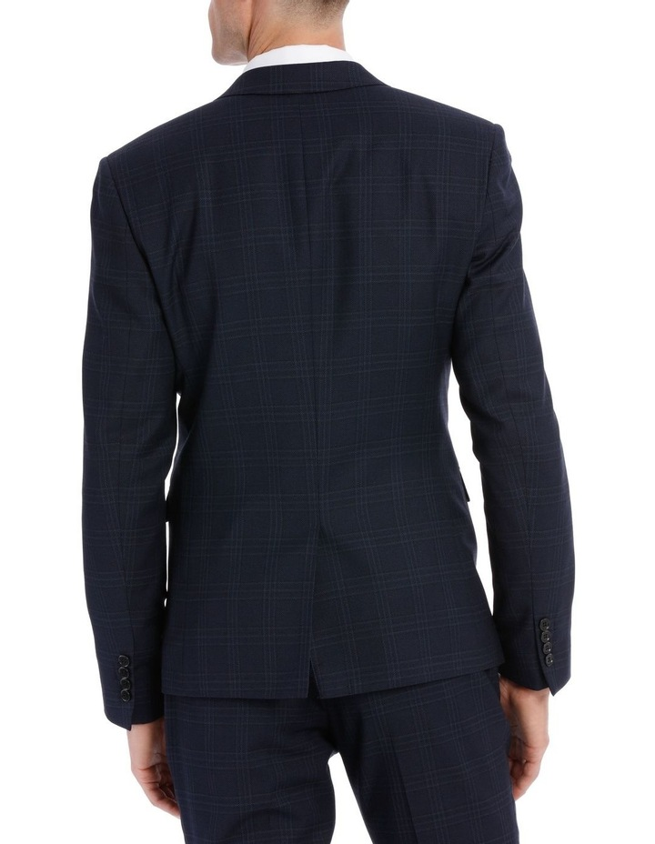 Navy Textured Check Suit Jacket image 3