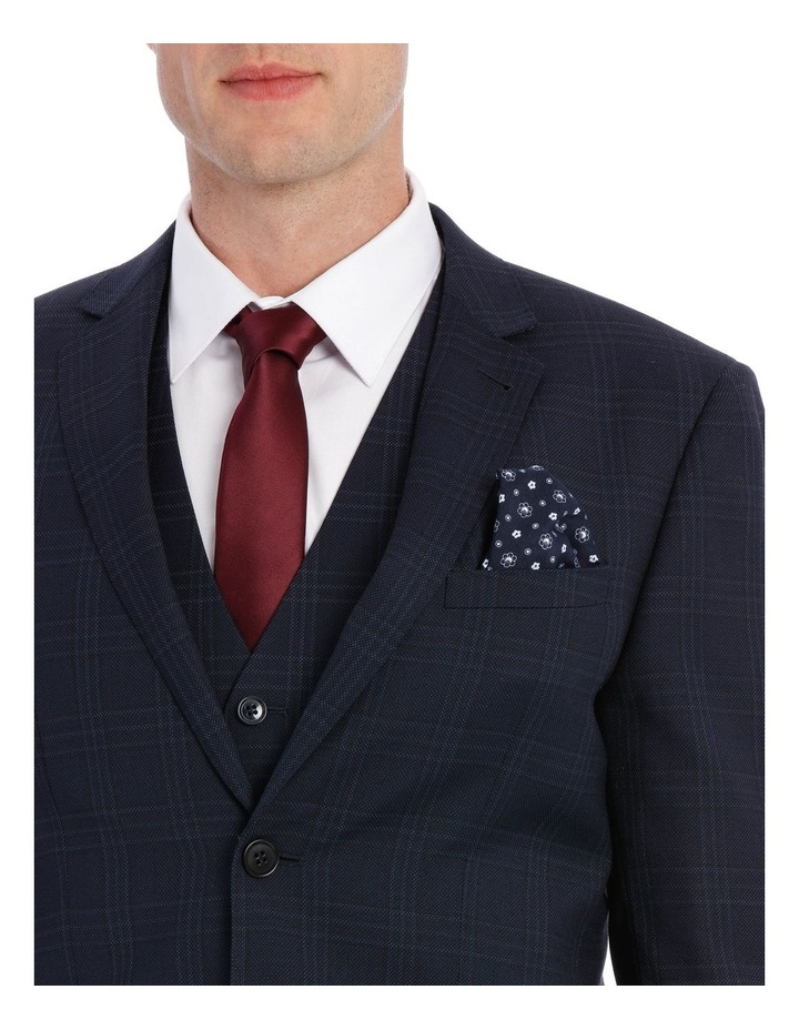 Navy Textured Check Suit Jacket image 4