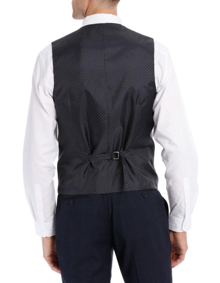 Navy Textured Check Waistcoat image 3