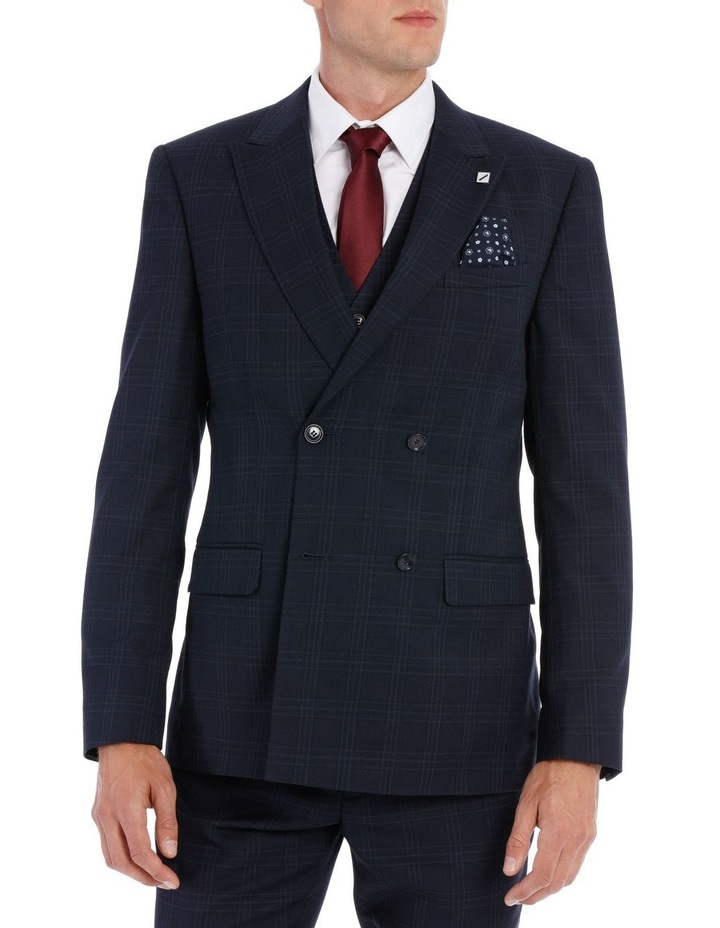 Navy Textured Check Double Breasted Suit Jacket image 1