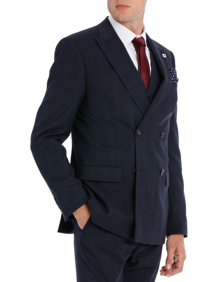 Navy Textured Check Double Breasted Suit Jacket image 2