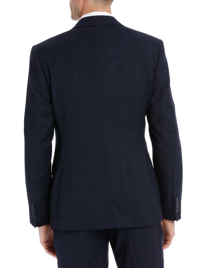 Navy Textured Check Double Breasted Suit Jacket image 3