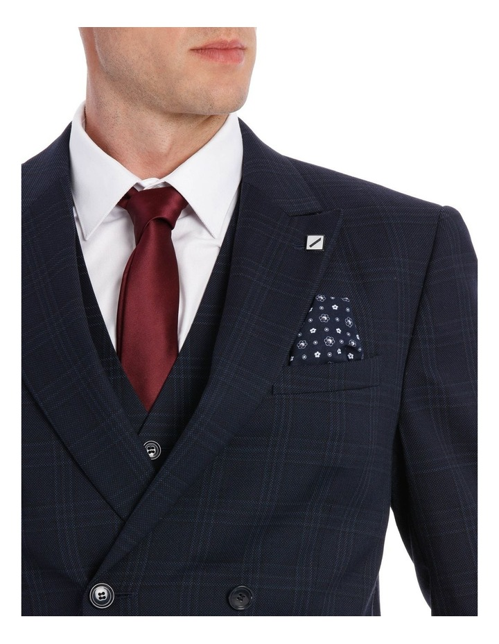 Navy Textured Check Double Breasted Suit Jacket image 4