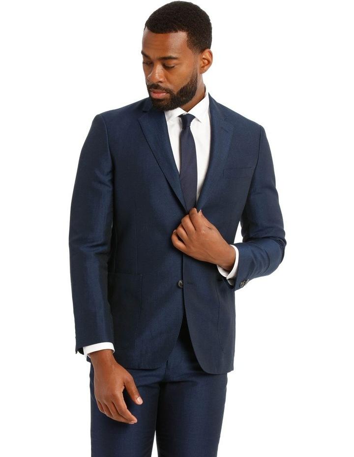 Navy Wool Linen Suit Jacket image 1