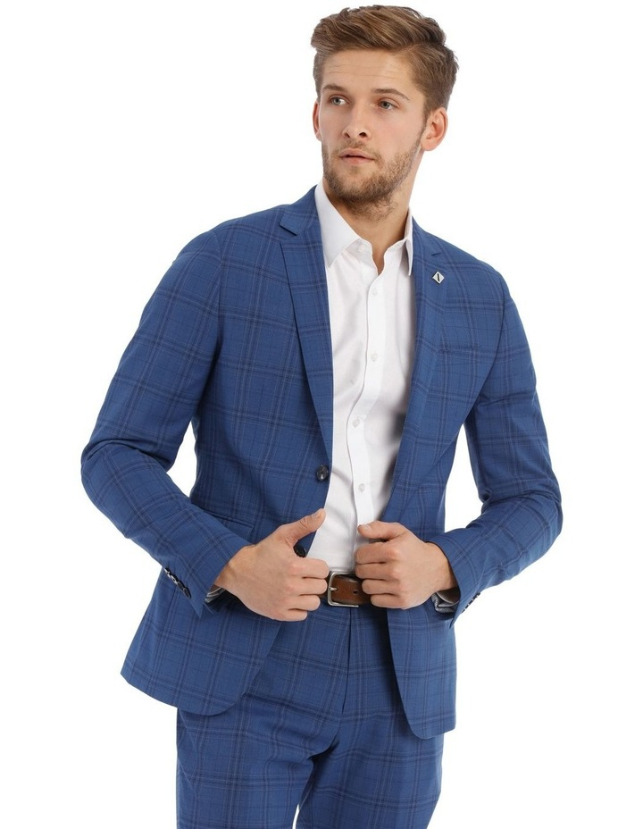 Slim Bright Blue Check Suit Jacket image 1