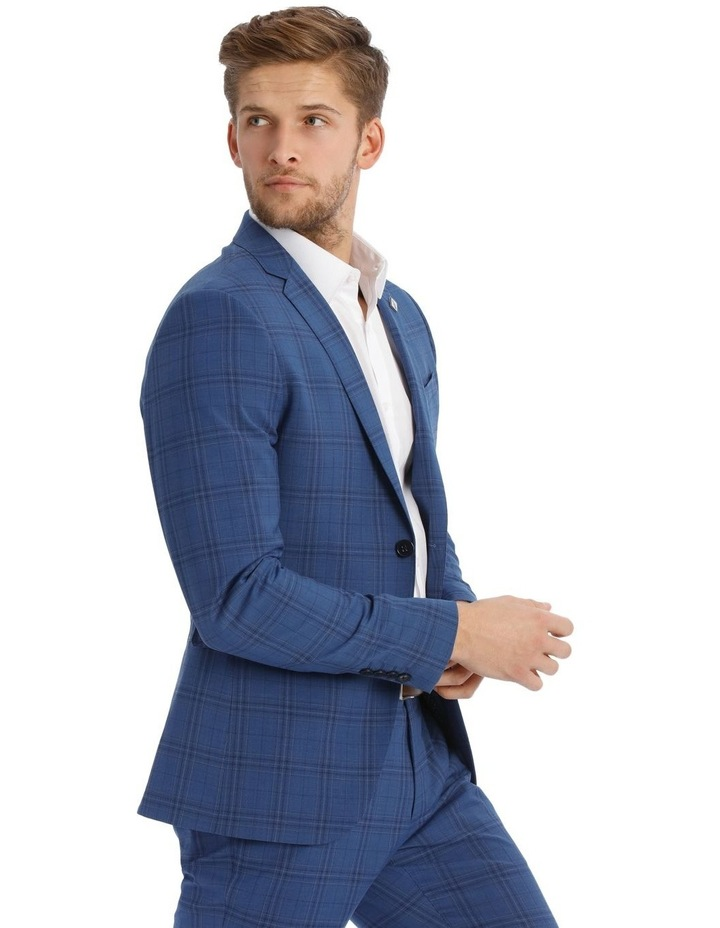 Slim Bright Blue Check Suit Jacket image 2