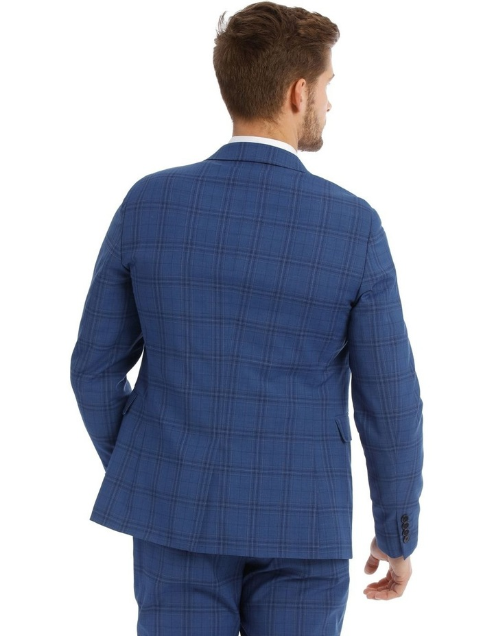 Slim Bright Blue Check Suit Jacket image 3