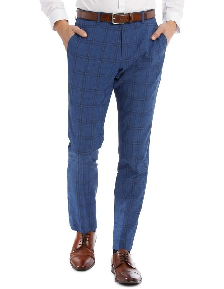 Slim Bright Blue Check Suit Trouser image 1