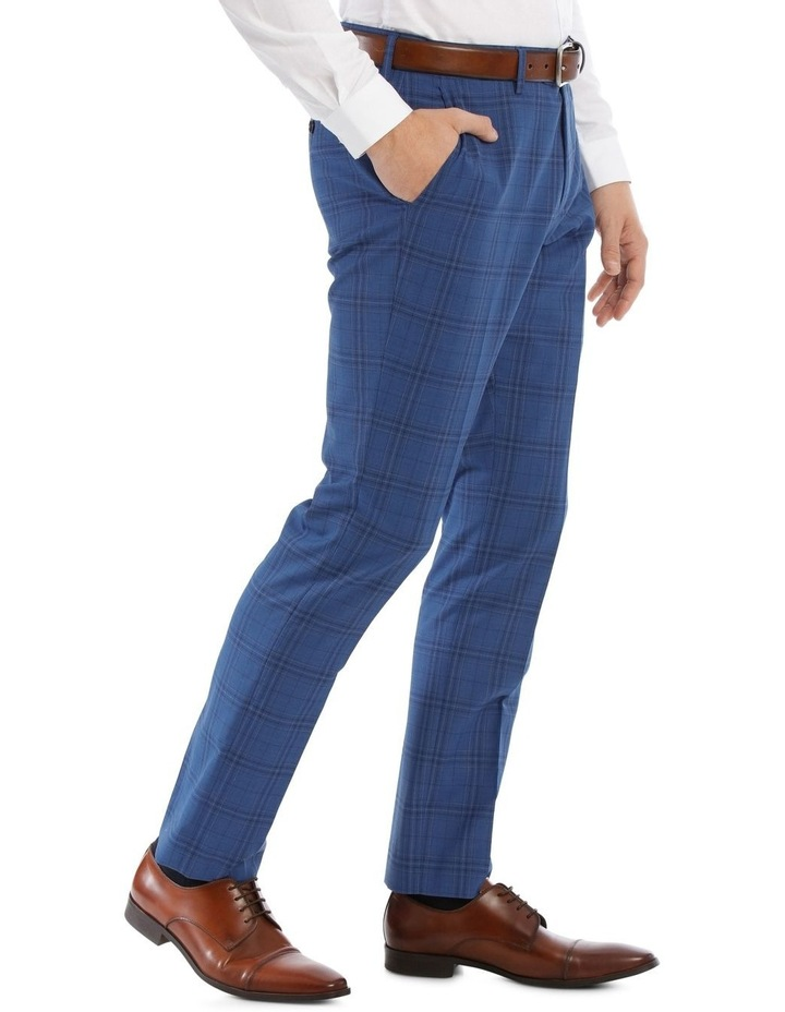 Slim Bright Blue Check Suit Trouser image 2