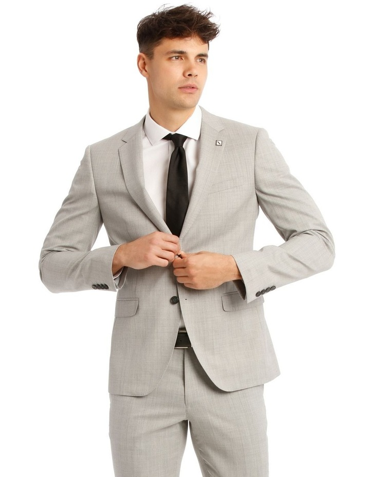Slim Light Grey Marle Suit Jacket image 1