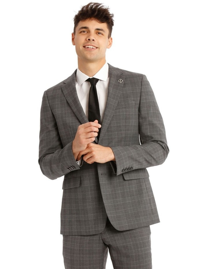 Tailored Pale Grey Check Suit Jacket image 1