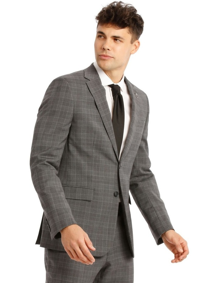 Tailored Pale Grey Check Suit Jacket image 2