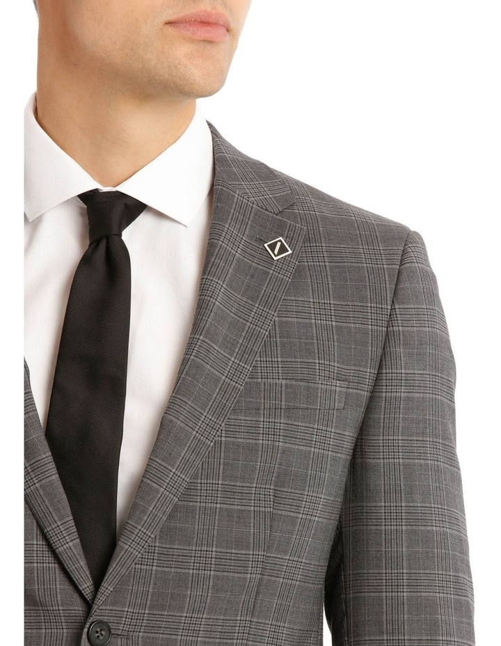 Tailored Pale Grey Check Suit Jacket image 4