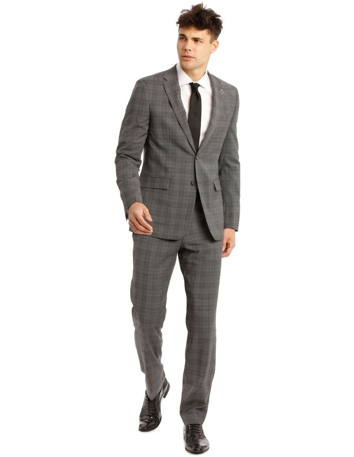 Tailored Pale Grey Check Suit Jacket image 5