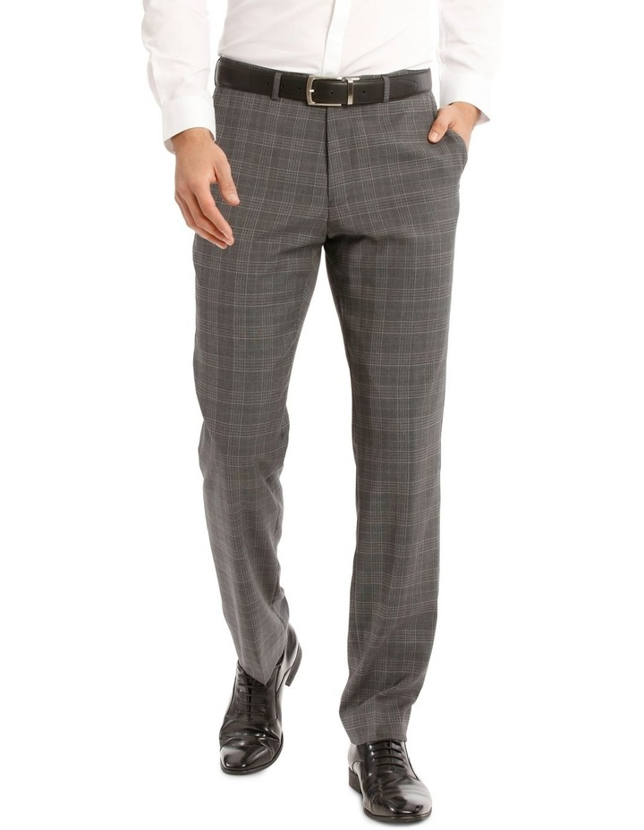 Tailored Pale Grey Check Suit Trousers image 1