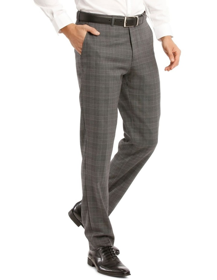 Tailored Pale Grey Check Suit Trousers image 2