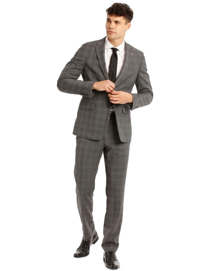 Tailored Pale Grey Check Suit Trousers image 5