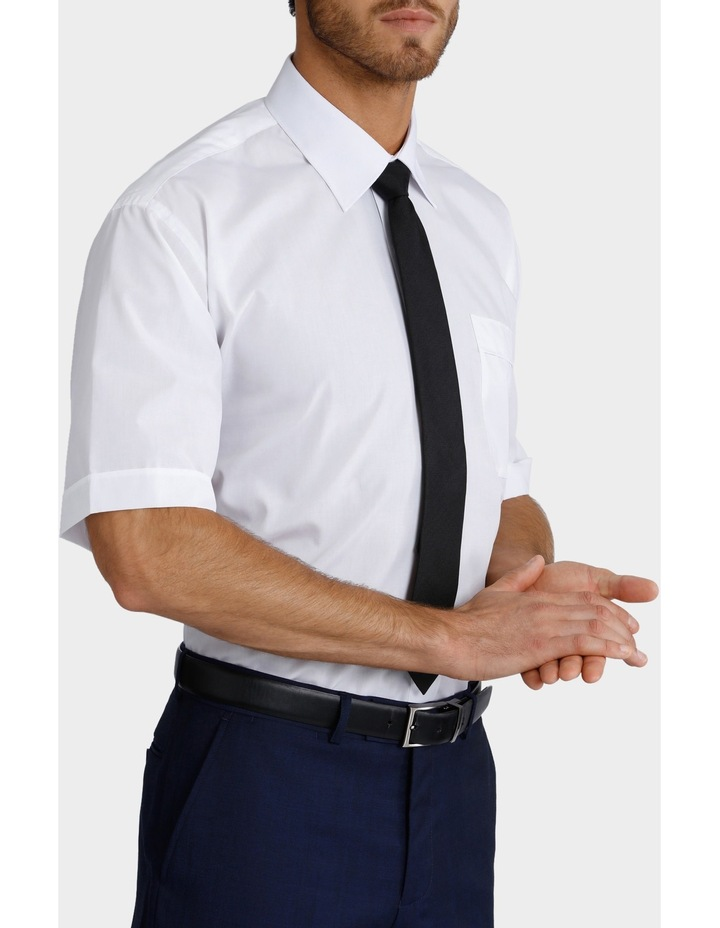 White Poplin Short Sleeve Business Shirt image 2