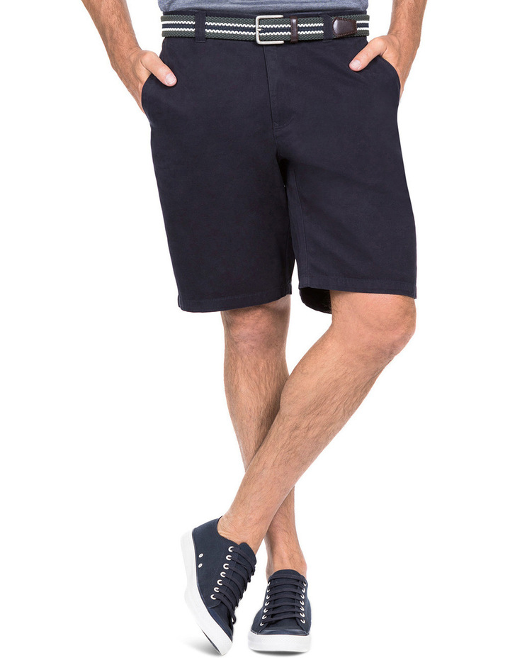 Flat Front Chino Short In Navy image 3