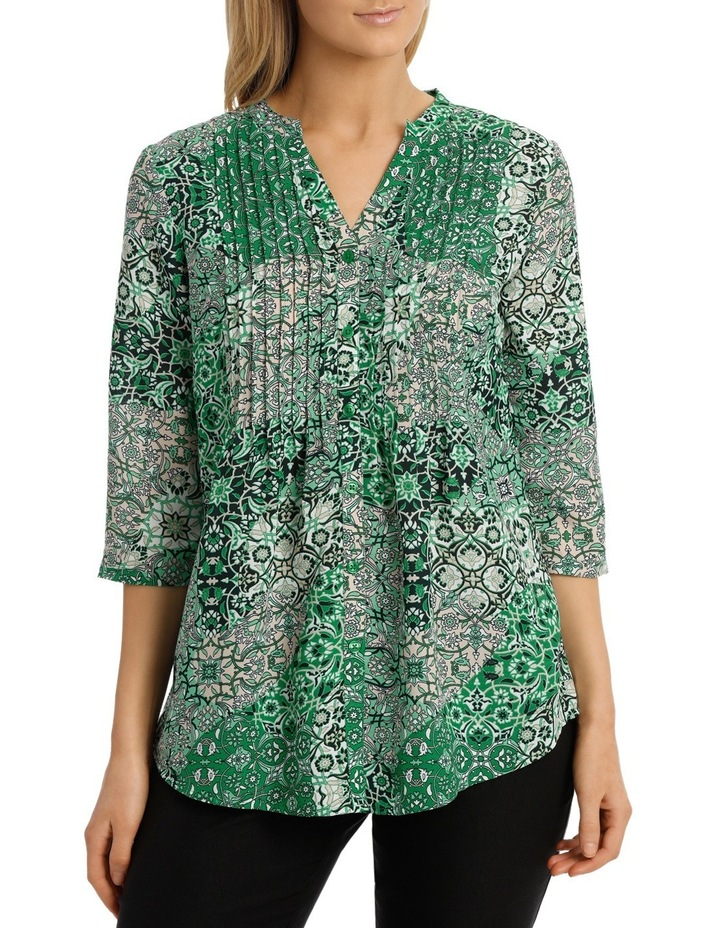 Tile Tuck Front 3/4 Sleeve Shirt image 1