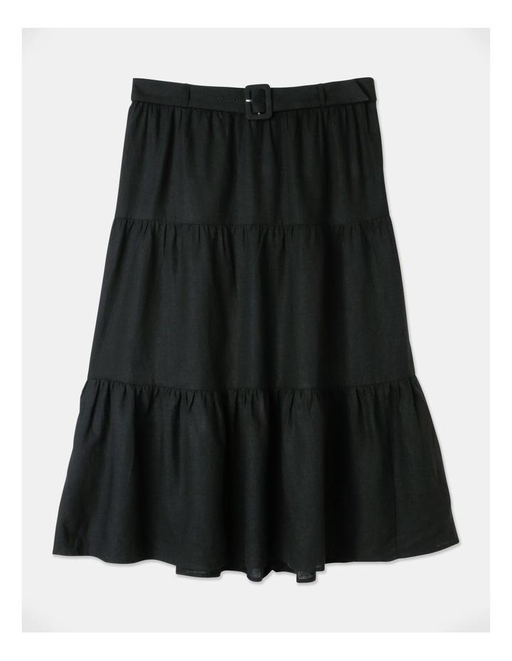 Curve Linen Blend Tierd Midi Skirt Black image 1