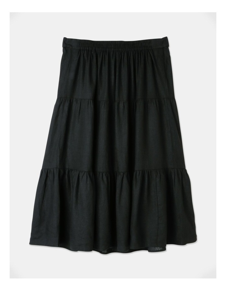 Curve Linen Blend Tierd Midi Skirt Black image 3
