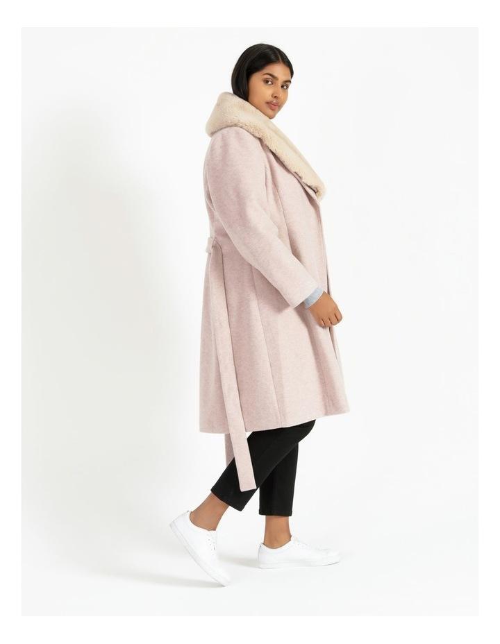 Faux Fur Collar Wrap Coat Blush Marle image 1