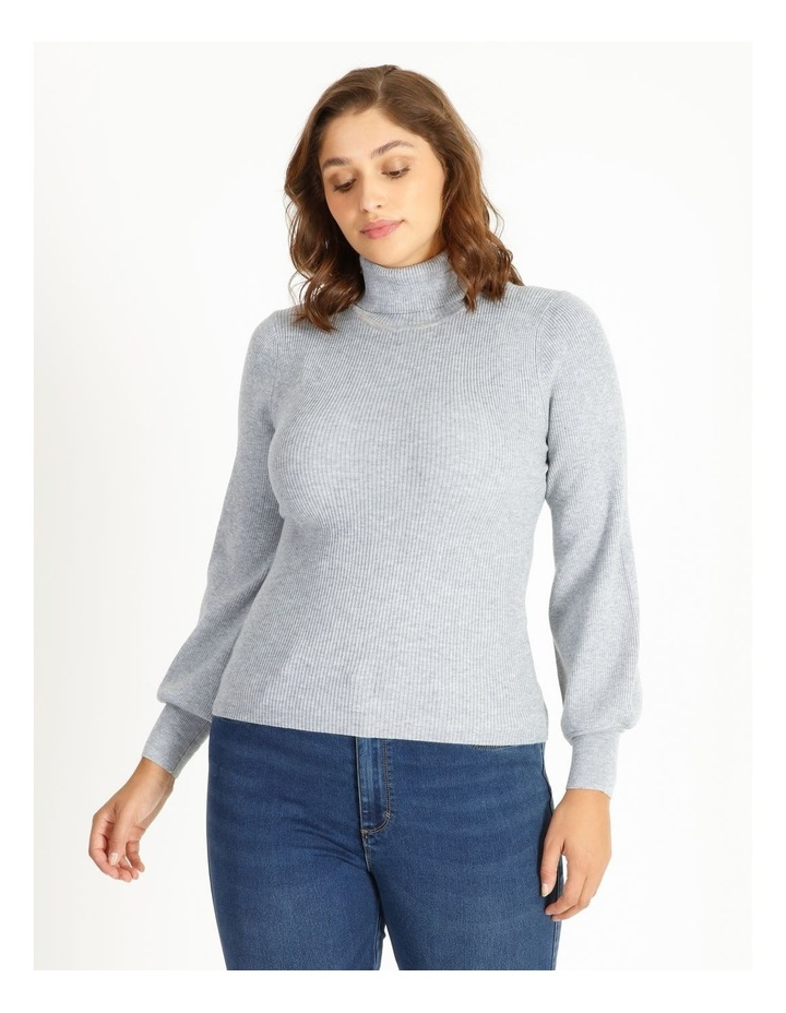 Blouson Sleeve Roll Neck Knitted Top image 1