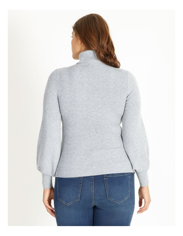 Blouson Sleeve Roll Neck Knitted Top image 3