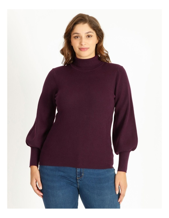 Curve Blouson Sleeve Roll Neck Knitted Top image 1