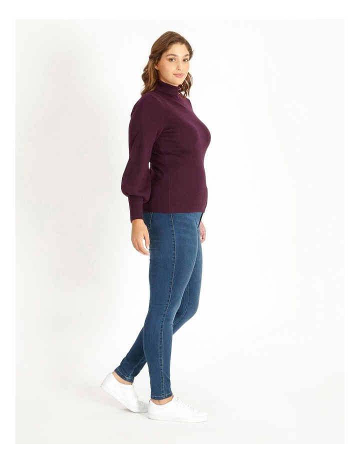 Curve Blouson Sleeve Roll Neck Knitted Top image 2