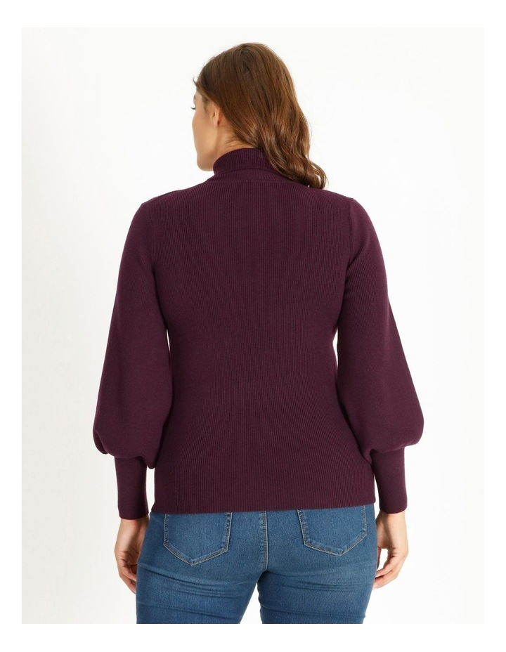 Curve Blouson Sleeve Roll Neck Knitted Top image 3