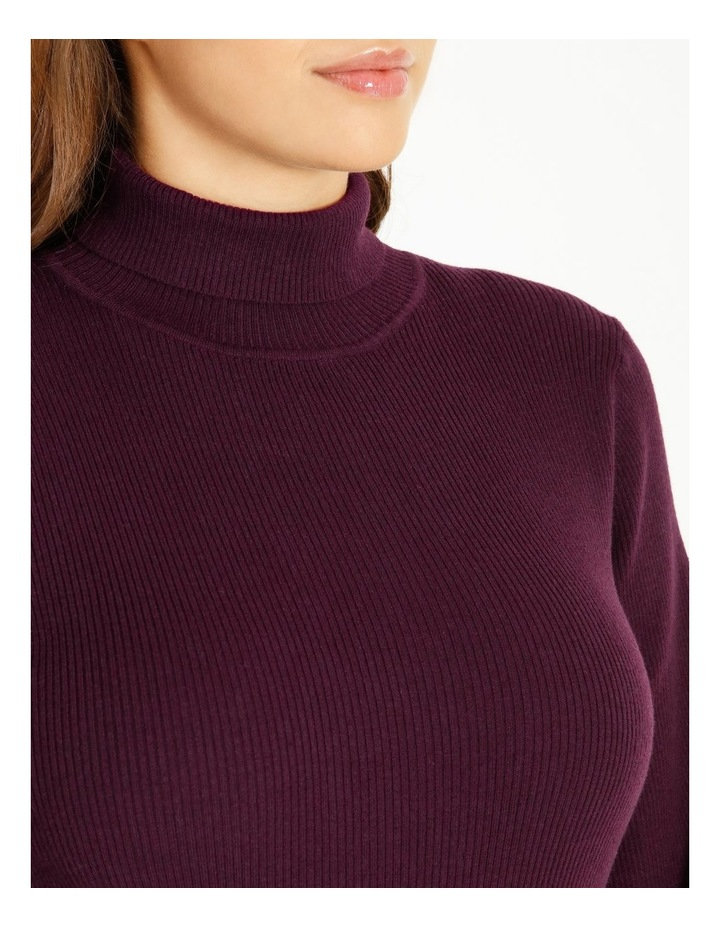 Curve Blouson Sleeve Roll Neck Knitted Top image 4