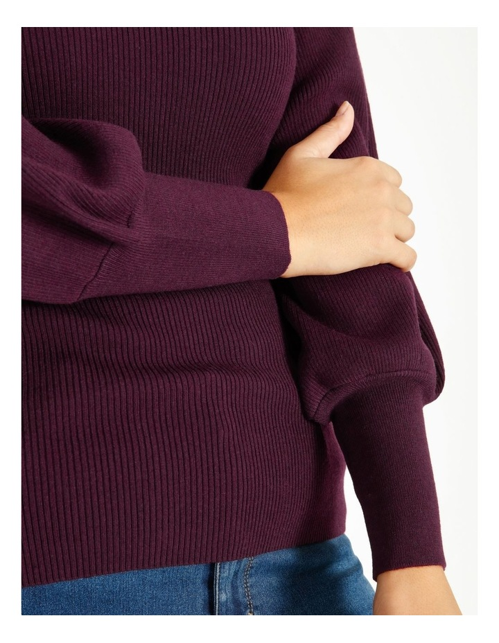 Curve Blouson Sleeve Roll Neck Knitted Top image 5