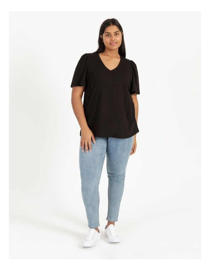 Organic Cotton Flutter Sleeve T-Shirt Black image 2