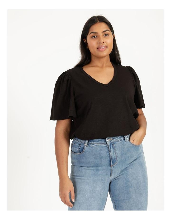Organic Cotton Flutter Sleeve T-Shirt Black image 3