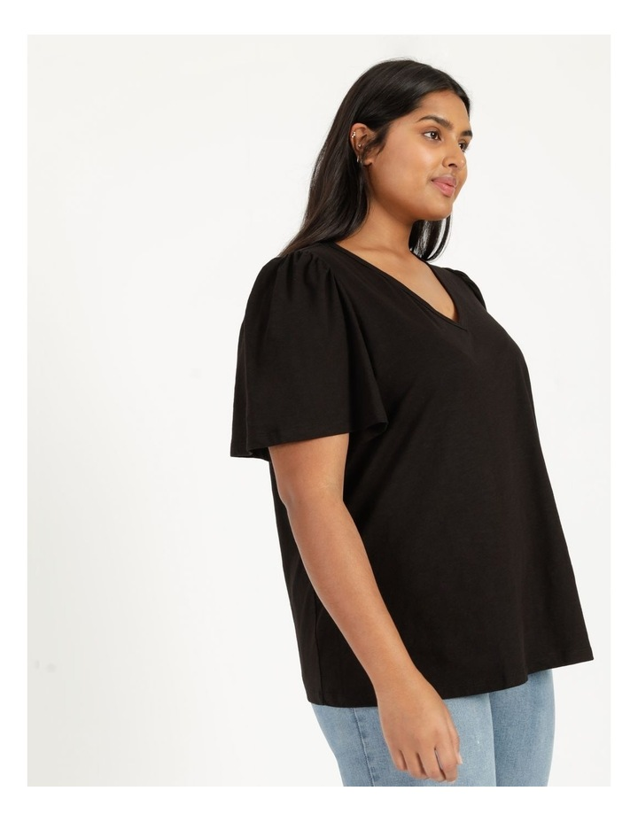 Organic Cotton Flutter Sleeve T-Shirt Black image 4