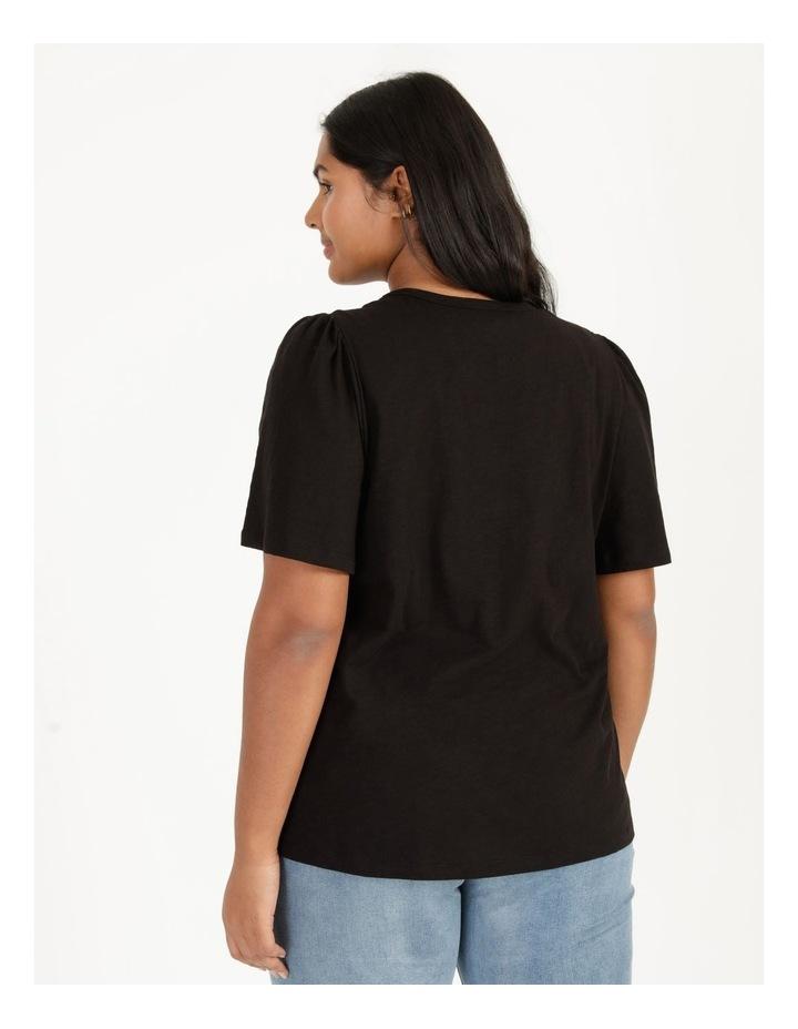 Organic Cotton Flutter Sleeve T-Shirt Black image 5