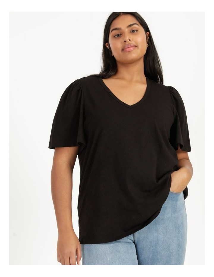 Organic Cotton Flutter Sleeve T-Shirt Black image 6