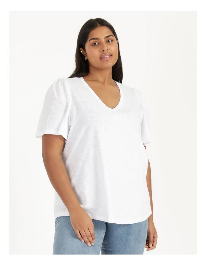 Organic Cotton Flutter Sleeve T-Shirt White image 3