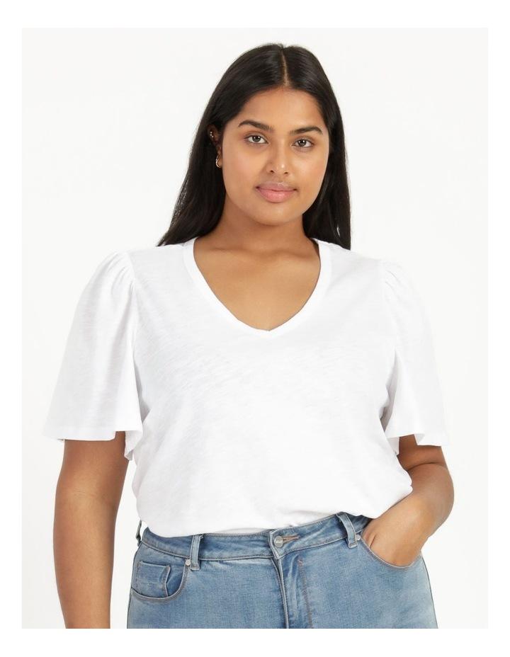 Organic Cotton Flutter Sleeve T-Shirt White image 6