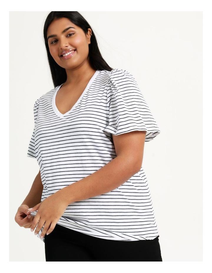Organic Cotton Flutter Sleeve T-Shirt White/Navy Stripe image 1