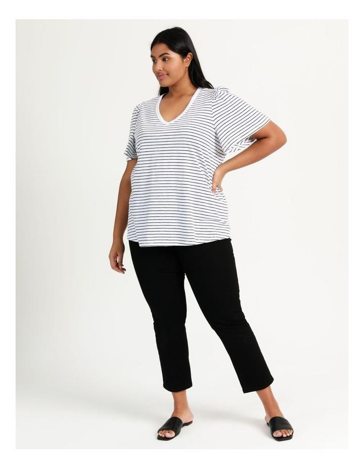Organic Cotton Flutter Sleeve T-Shirt White/Navy Stripe image 2